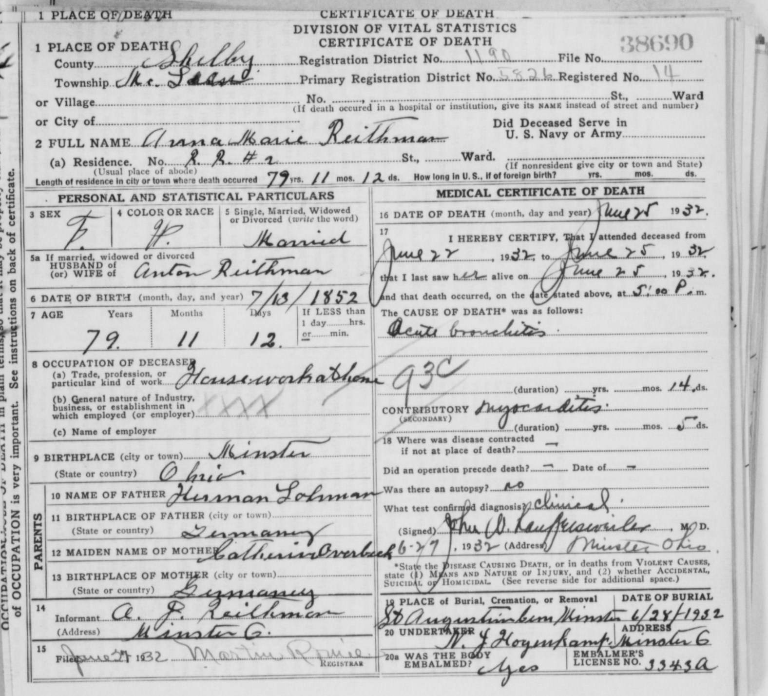 Lohman the spiraling chains schroeder tumbush family trees death certificate xflitez Images
