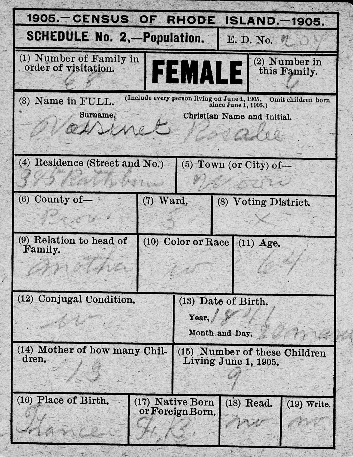 Voisinet the spiraling chains schroeder tumbush family trees 1905 rhode island state census rosalie widowed 1betcityfo Choice Image